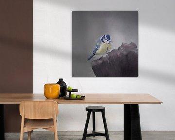 Pimpelmees aquarel van Femmie Van der knokke