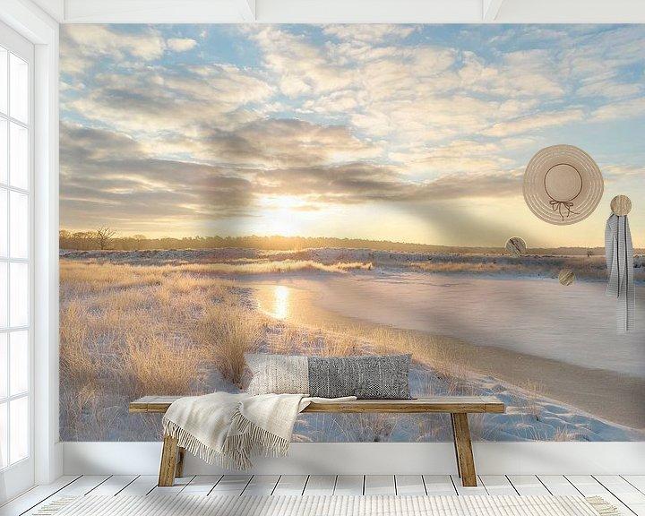 Sfeerimpressie behang: Gouden zonsopkomst Kampina van Ruud Engels