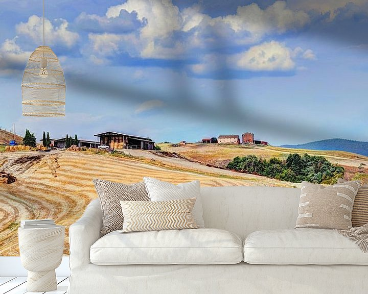 Sfeerimpressie behang: Toscane Panorama Landschap van Hendrik-Jan Kornelis