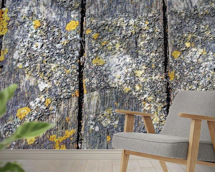 Sfeerimpressie behang: Landelijke Rustieke Houten Planken van Hendrik-Jan Kornelis