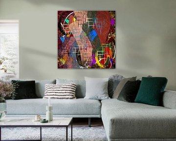 Moderne abstracte kunst met gekleurde lijnen