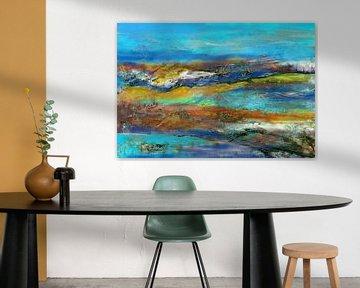 farbenfrohe Landschaft mit Türkis und Blau von Claudia Gründler