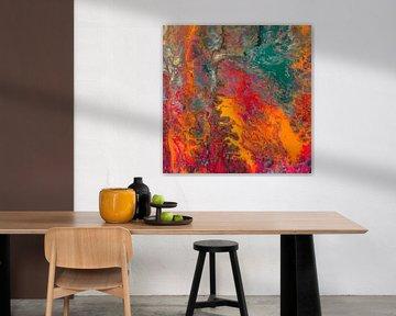 Modernes, abstraktes digitales Kunstwerk in Rot Orange Blau von Art By Dominic