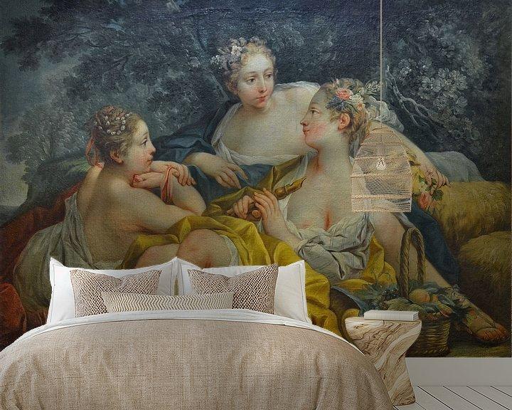 Beispiel fototapete: Oben-ohne-Nymphen, die Flöte spielen, François Boucher von Atelier Liesjes