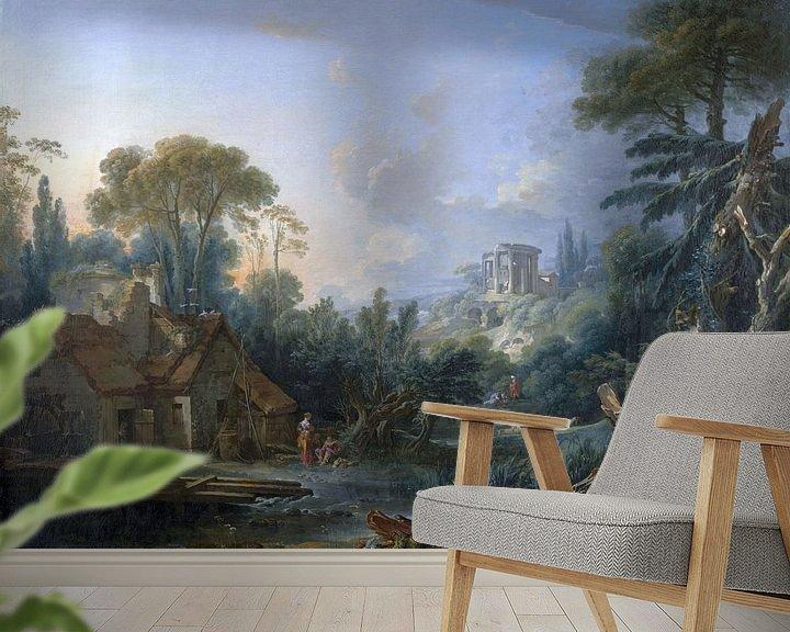 Beispiel fototapete: Landschaft mit einer Wassermühle, François Boucher, 1740 von Atelier Liesjes