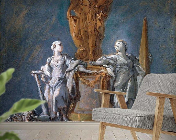 Beispiel fototapete: Studie für ein Denkmal für eine fürstliche Figur, François Boucher von Atelier Liesjes