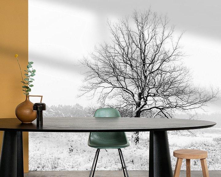 Beispiel fototapete: Ein einsamer Baum in einer Winterlandschaft. von Henk Van Nunen Fotografie
