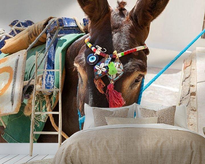 Beispiel fototapete: Esel mit bunter Kleidung auf der griechischen Insel Santorin, Griechenland. von Eyesmile Photography