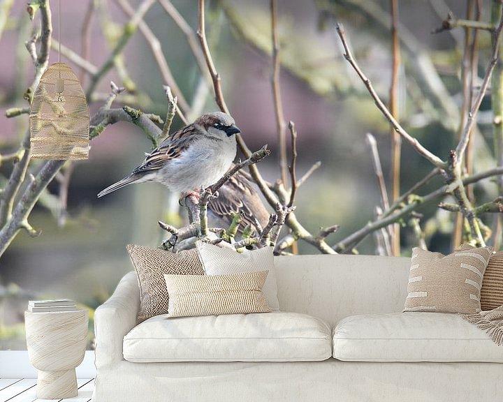 Sfeerimpressie behang: 2 huismussen van Piet Kooistra