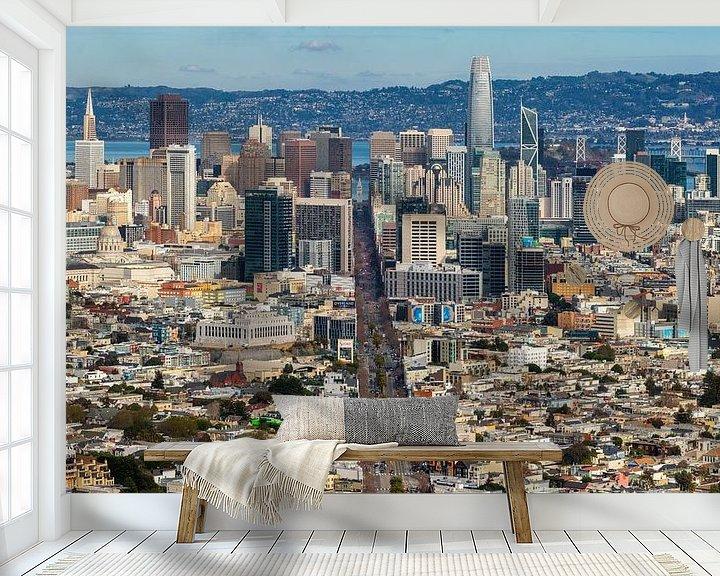 Sfeerimpressie behang: San Francisco van Photo Wall Decoration