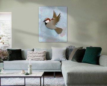 Vliegende huismus van Bianca Wisseloo