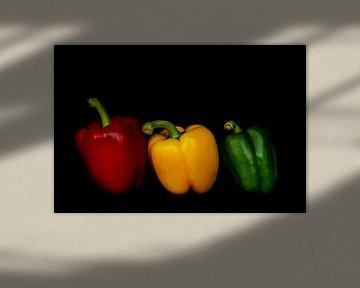 Stillleben Makro Paprika rot gelb grün auf schwarz von Dieter Walther
