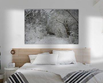 een bospad bedekt met een dik pak sneeuw