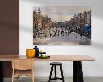 Schaatsen op de Prinsengracht in Amsterdam van Karin Riethoven