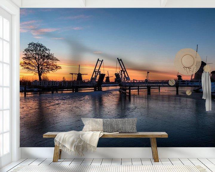 Sfeerimpressie behang: Kinderdijk winter 2 van Nuance Beeld