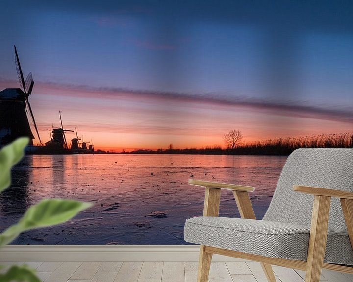 Sfeerimpressie behang: Kinderdijk winter 7 van Nuance Beeld