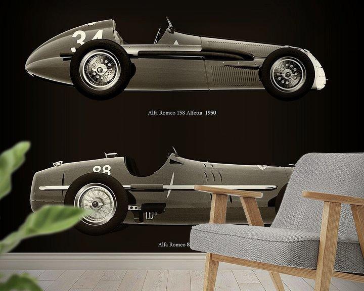 Sfeerimpressie behang: Alfa Romeo 158 Alfetta 1950 en Alfa Romeo 8c 1935 van Jan Keteleer