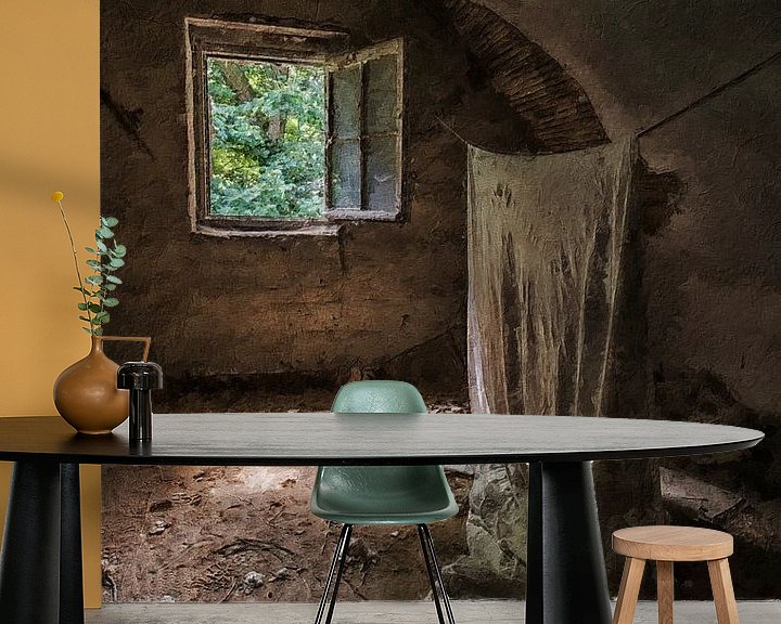 Beispiel fototapete: Die hängende Leinwand in einem verlassenen Haus von Digitale Schilderijen