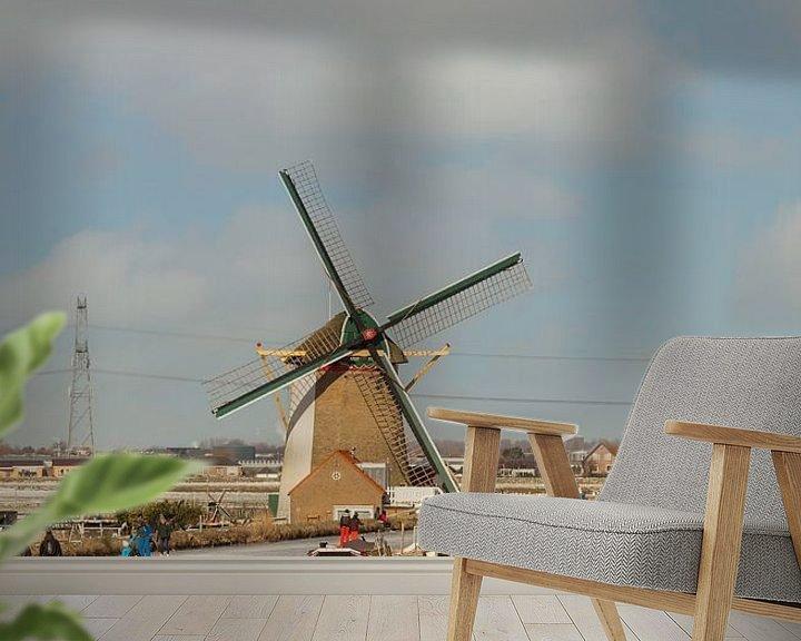 Sfeerimpressie behang: schaatsen bij de molen bij De Lier van Compuinfoto .
