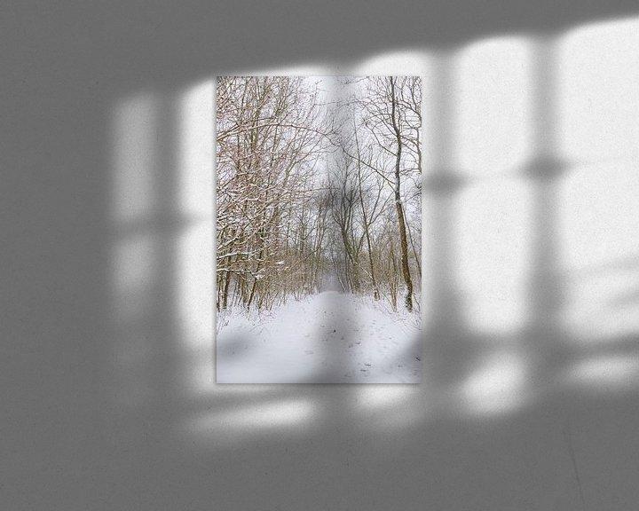 Beispiel: Winterwunderland während eines Schneesturms in einem Wald in Almere, Niederlande | Schneelandschafte von Evelien Lodewijks