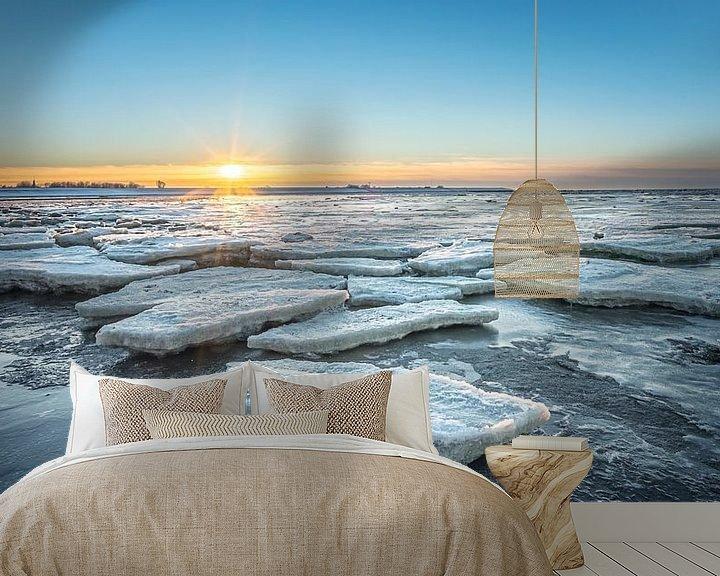 Impression: La banquise sur la mer des Wadden au coucher du soleil sur Martijn van Dellen