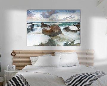 Wilde zee op de Lofoten