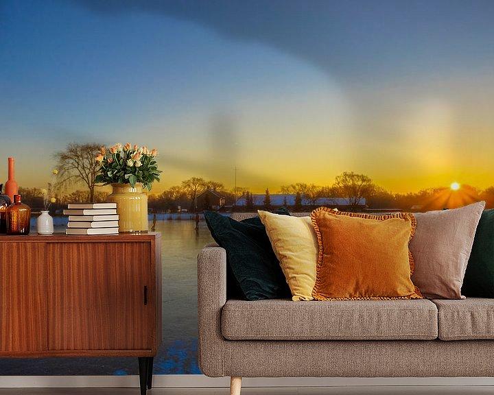Sfeerimpressie behang: zonsopkomst in Moerenburg van Freddie de Roeck