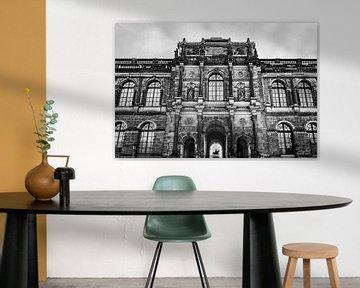 Schloss Zwinger in schwarz-weiß