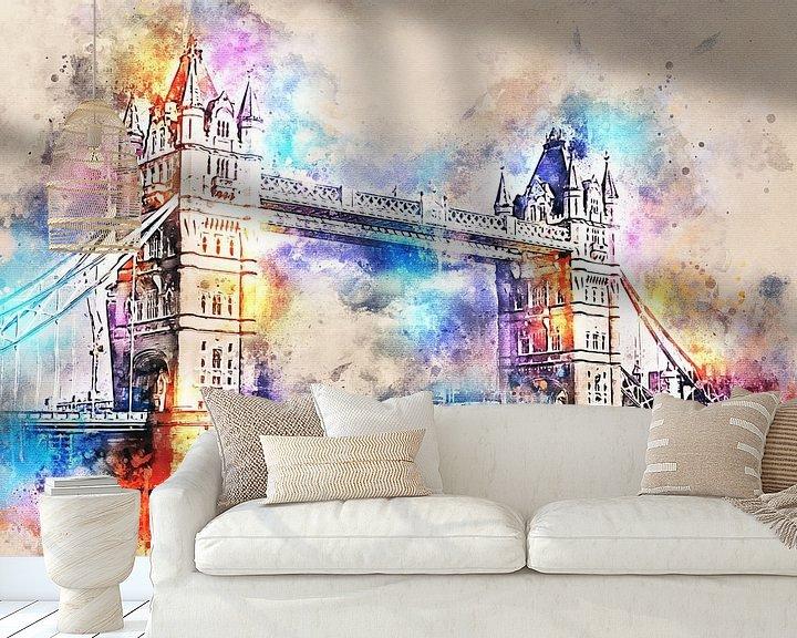Sfeerimpressie behang: Tower Bridge - Londen (tekstloos) van Sharon Harthoorn