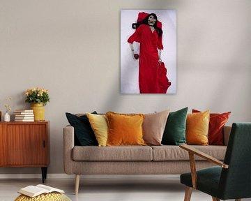 Letzter Apfel Skelett mit rotem Kleid und roten Apfel von Babetts Bildergalerie