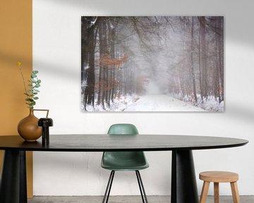 Haas in het bos (schilderij uitstraling) van Francis Dost