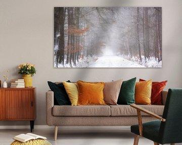 Boslandschap in sneeuw en mist van Francis Dost
