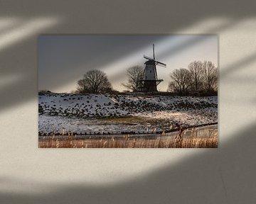 Patineur solitaire près du moulin De Koe (La Vache) sur Percy's fotografie