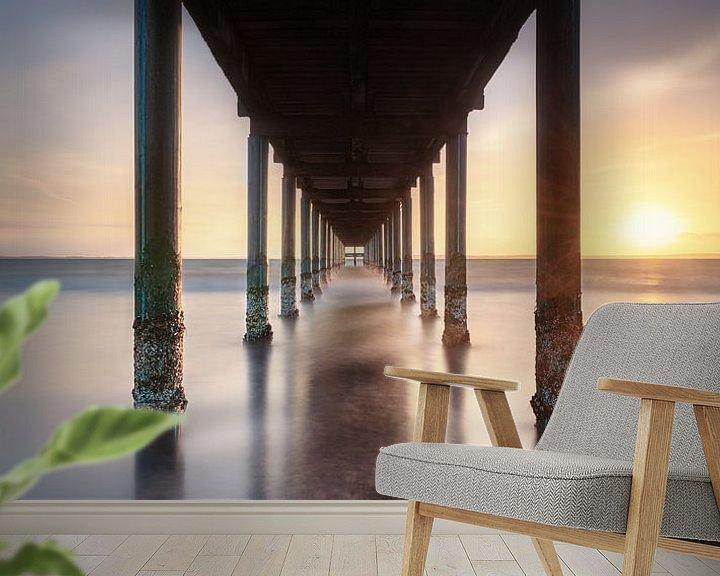 Beispiel fototapete: Sonnenuntergang an der Ostsee mit Seebrücke von Voss Fine Art Fotografie