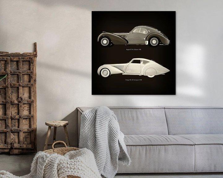 Sfeerimpressie: Bugatti 57-SC Atlantic 1938 en Delage D8-120 Aerosport 1938 van Jan Keteleer