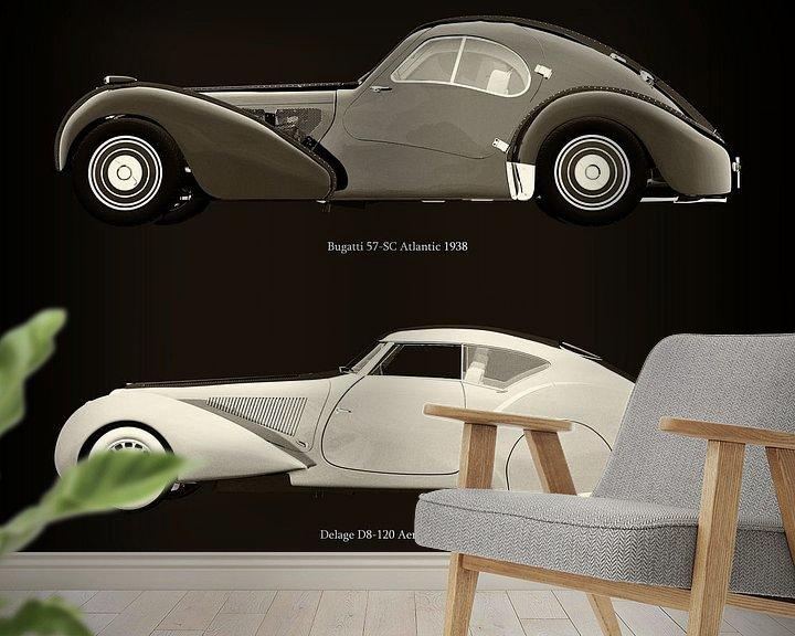 Sfeerimpressie behang: Bugatti 57-SC Atlantic 1938 en Delage D8-120 Aerosport 1938 van Jan Keteleer