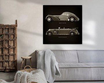 Bugatti 57-SC Atlantic 1938 en Mercedes 770-K Limousine 1938 van Jan Keteleer