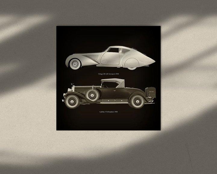 Sfeerimpressie: Delage D8-120 Aerosport 1938 en Cadillac V16 Roadster 1930 van Jan Keteleer