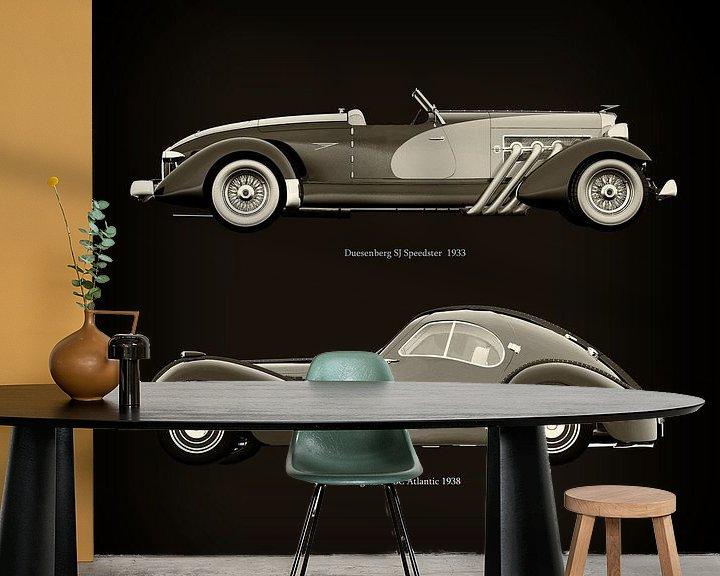 Sfeerimpressie behang: Duesenberg SJ Speedster 1933 en Bugatti 57-SC Atlantic 1938 van Jan Keteleer