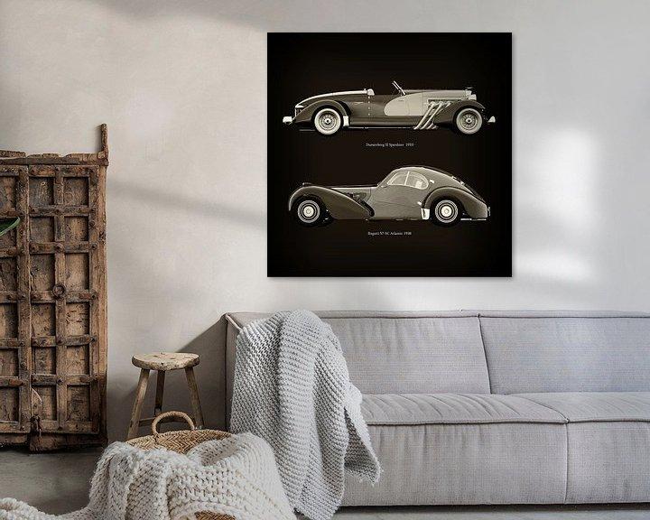 Sfeerimpressie: Duesenberg SJ Speedster 1933 en Bugatti 57-SC Atlantic 1938 van Jan Keteleer