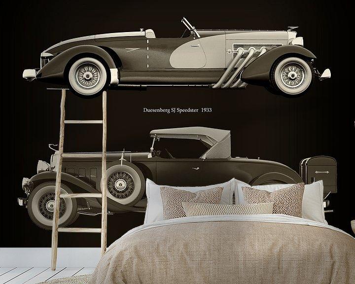 Sfeerimpressie behang: Duesenberg SJ Speedster 1933 en Cadillac V16 Roadster 1930 van Jan Keteleer