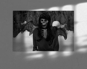 Teufelsbraut Skelett mit rotem Kleid und Teufel Flügel im Schnee von Babetts Bildergalerie