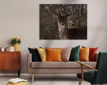 Portret van een hert van Wendy Tellier - Vastenhouw