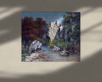 Landschaft mit Bach und Felsen, Gustave Courbet von Atelier Liesjes