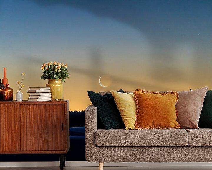 Beispiel fototapete: Mondsichel zum Sonnenaufgang von Marcel Lohr