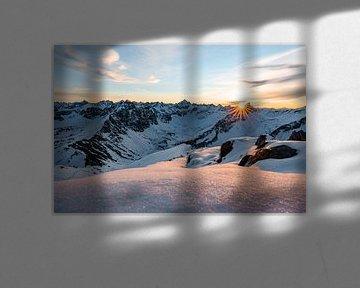 Zonsondergang in de Tannheimer Alpen van Leo Schindzielorz