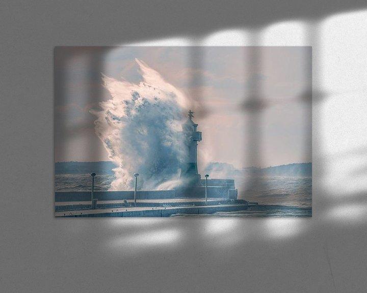 Beispiel: Sturmwelle Leuchtturm Sassnitz auf der Insel Rügen von Mirko Boy