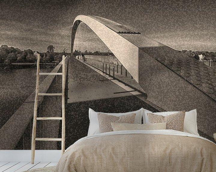 Sfeerimpressie behang: brug met boog van Corrie Ruijer