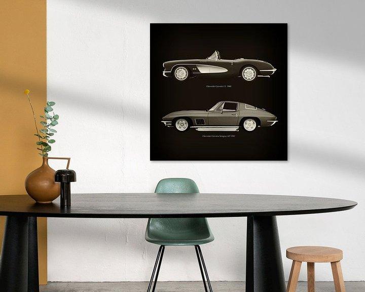 Sfeerimpressie: Chevrolet Corvette C1 1960 en Chevrolet Corvette Stingray 427 1967 van Jan Keteleer