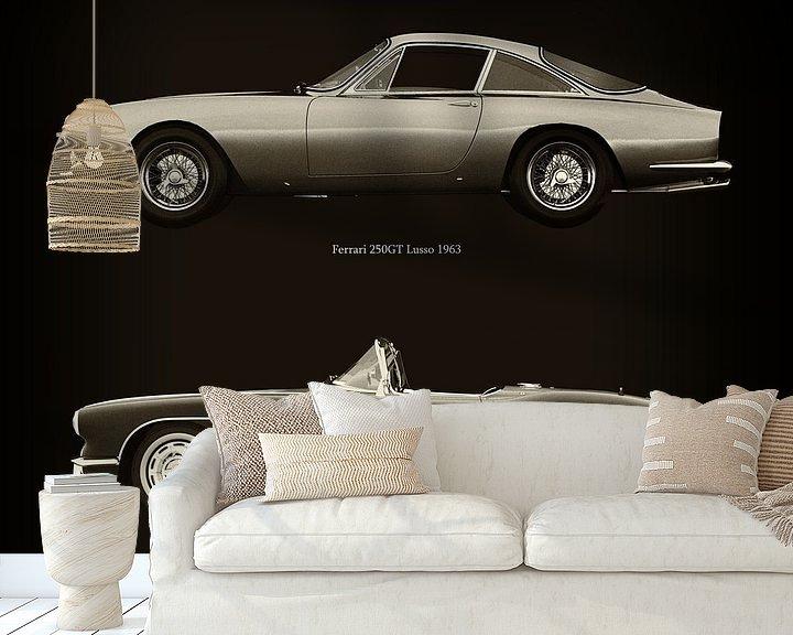 Sfeerimpressie behang: Ferrari 250GT Lusso 1963 en Chevrolet Corvette C1 1960 van Jan Keteleer